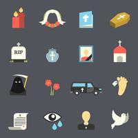 Conjunto de ícones de funeral vetor