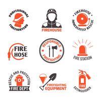 Conjunto de etiquetas de combate a incêndios vetor