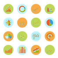 Ícones de gráfico de negócios planas