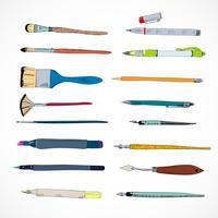 Esboço de ícones de ferramentas de desenho vetor