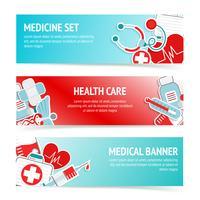 Banners de cuidados de saúde médicos vetor