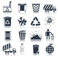 Lixo ícones preto vetor
