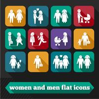 Mulheres e homens ícones vetor