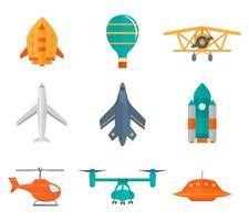 Ícones de aeronaves planas vetor