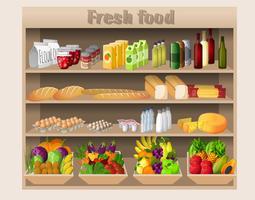 Prateleiras de supermercado comida e bebidas