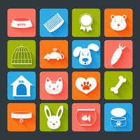 Conjunto de ícones de animais de estimação plana