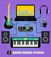 Estúdio de música em casa vetor
