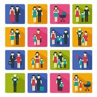 Conjunto de ícones de família plana