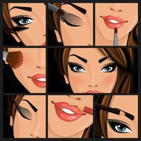 Mulher de beleza de maquiagem vetor