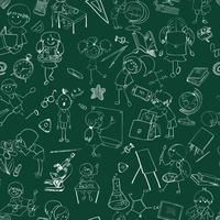 Crianças da escola doodle esboço sem emenda vetor