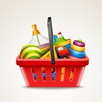 Brinquedos no carrinho de compras