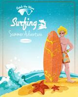 Cartaz de aventura de verão surf