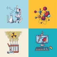Composição de desenho de ícone de química