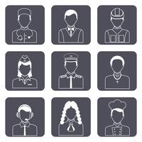 Conjunto de ícones de avatar profissional