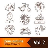 contorno de conjunto de ícones de pizza