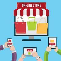 Conceito de compras móvel vetor