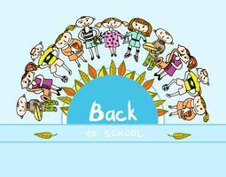 Decorativo volta ao fundo de crianças de escola