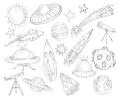 Objetos de espaço sketch set vetor