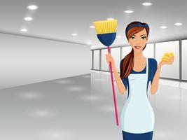 Retrato de produtos de limpeza de mulher