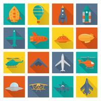 Conjunto de ícones de aeronaves vetor