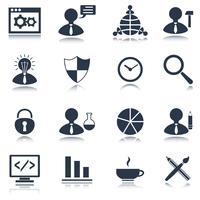 Conjunto de ícones de SEO preto