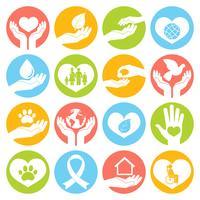 Caridade e doação de ícones brancos vetor
