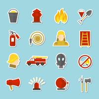 Adesivos de ícones de combate a incêndios vetor