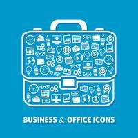 Ícones de escritório maleta vetor