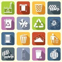 Lixo ícones planas vetor