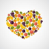 composição de coração de comida saudável vetor