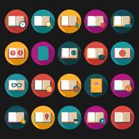 Conjunto de ícones plana de livros e símbolos