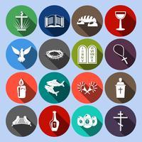 Conjunto de ícones do cristianismo plana vetor