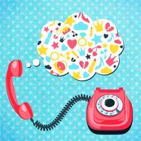 Conceito de bate-papo de telefone antigo vetor