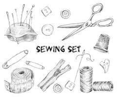 Conjunto de desenho de costura vetor