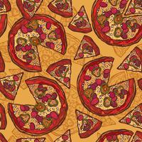 Pizza sem costura padrão de esboço
