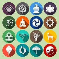 Conjunto de ícones do budismo plano vetor