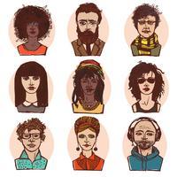 Esboço pessoas retratos colorido conjunto vetor