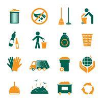 Conjunto de ícones de lixo vetor