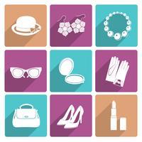 Conjunto de ícones plana de acessórios de mulher