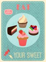 Poster retro de doces vetor