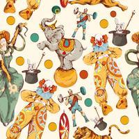 Circo doodle desenho cor sem costura padrão vetor