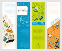 Banners de infográfico escola educação ícones