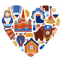 Conjunto de coração de viagens na Rússia vetor