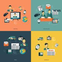 Ícones de notícias planas vetor