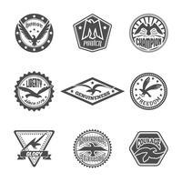 Conjunto de ícones de rótulo de águia