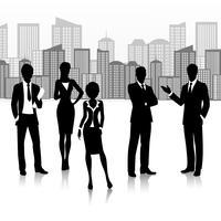 Grupo de negócios de silhueta