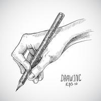 Lápis de mão esboço vetor