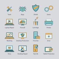 Conjunto de ícones de linha plana de reparo de computador