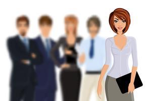 Busines mulher com equipe de negócios vetor
