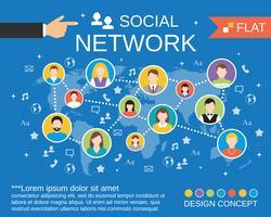 Modelo de conceito de rede social vetor